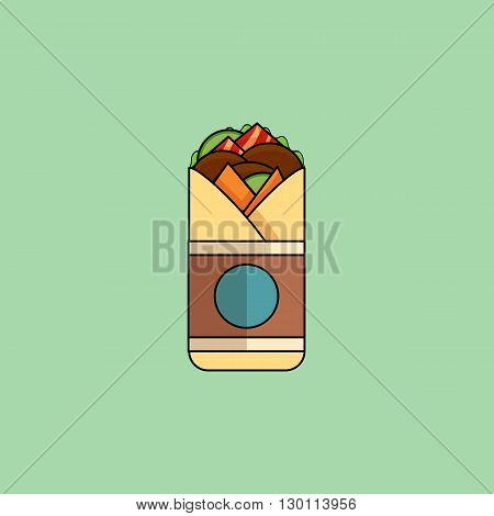 Cute cartoon Beef Roll with salad tomatoes cutlet cheese ham.Minimalist line style modern color flat design. Mexican food thin line icon for web mobile. Vector illustration eps10