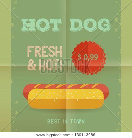 Hot Dog menu price. The best Hot Dogs in town. Vintage poster design. Retro flyer template folded paper. Flat design vector illustration eps 10