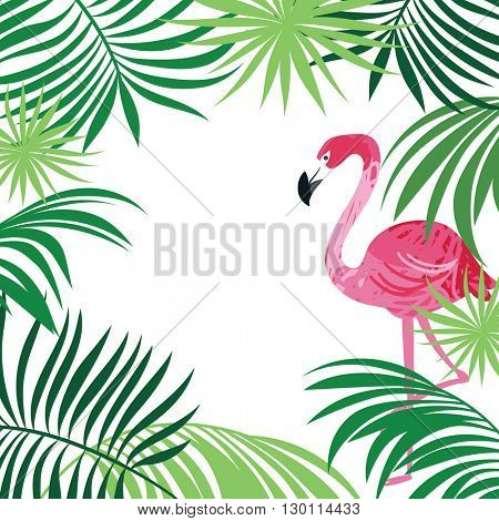 tropical illustration, pink flamingo and palm leaves