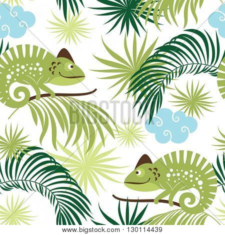 seamless tropical pattern with chameleons