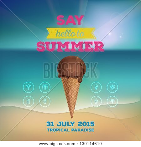 Summer poster flyer invitation to rest. Chocolate ice cream in waffle cup on background of the sea. Line icon design elements. Vector illustration eps 10