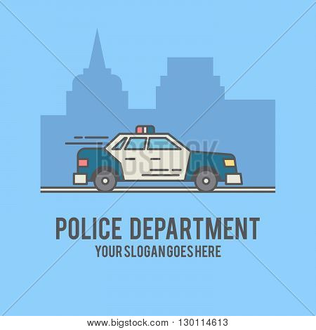 Police car on city background silhouette. Flat line styled illustration.