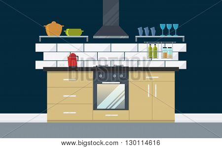 Classic kitchen with appliances cupboard oven kettle. Creative concept interior with luxury modern furniture. Flat design minimalist style. Vector illustration - 10 EPS - for your project
