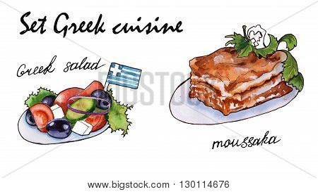 Set sketches of Greek cuisine. moussaka and Greek salad. isolated. watercolor