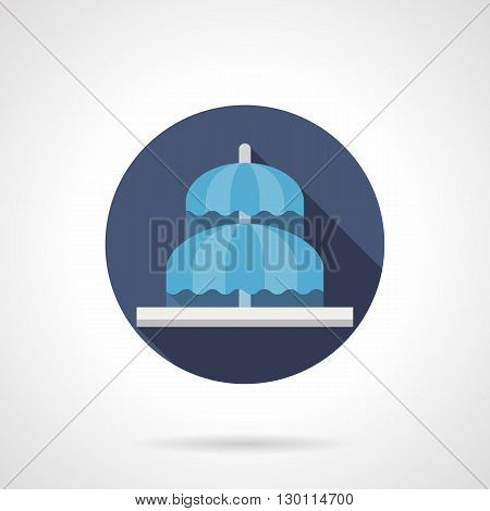 Two-tiered fountain flowing as of umbrellas. Decoration for urban constructions, streets and parks, landscape architecture. Round flat color style vector icon.