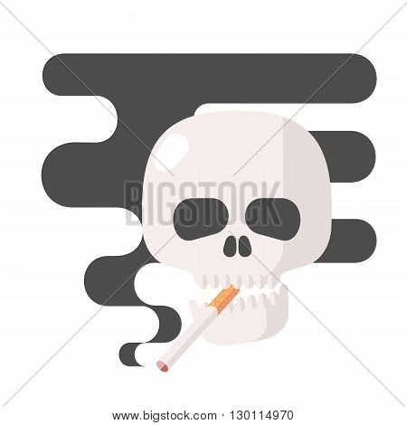 Icons about smoking, vector illustration flat, the dangers of smoking, health problems due to smoking, human skull, nicotine dangerous smoke, danger to life and limb due to nicotine
