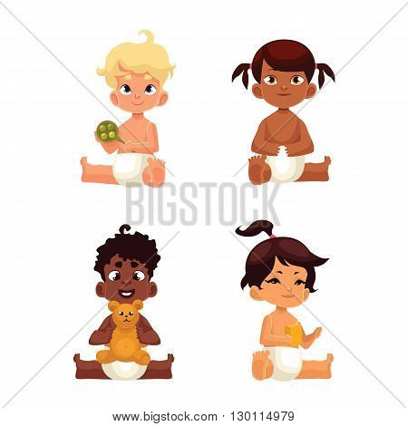Babies in diapers of different nationalities, comic cartoon vector illustration isolated on white, four baby in diapers sitting, different nationalities, Mexican baby African Asian and European