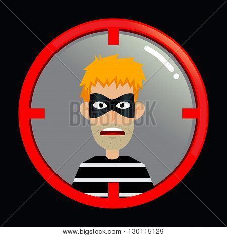Vector stock of criminal inside target aiming scope