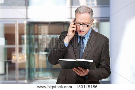 Senior businessman at the phone looking his agenda