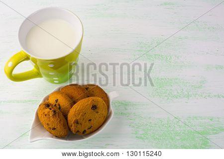 Milk and cookies copy space. Breakfast cookies. Sweet pastry. Sweet dessert. Homemade cookies