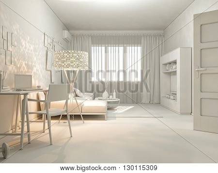 3D render of interior design living in a studio apartment in a modern minimalist style. The illustration shows a corner sofa and desk with a laptop and a large floor lamp.
