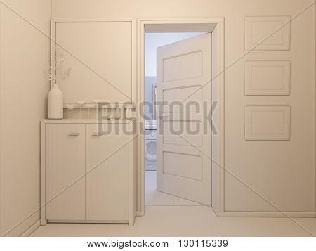 3D Visualization Of Interior Design Entrance Hall