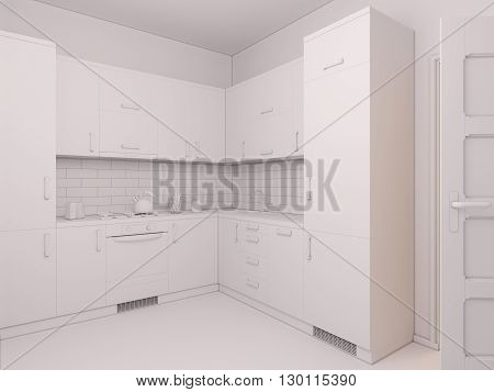 3D render of interior design kitchen in a studio apartment in a modern minimalist style. The illustration shows a corner kitchen in red and wooden color fasades