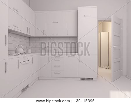 3D render of interior design kitchen in a studio apartment in a modern minimalist style. The illustration shows a corner kitchen in red and wooden color fasades with open door into room