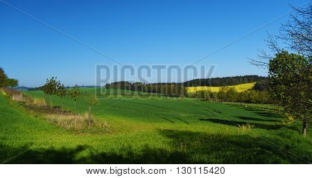 Green landscape in south of Bohemia and mountains Sumava