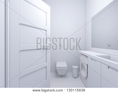 3d render of interior design bathroom. The illustration shows the bedside table with a mirror in white color under which there is a washing machine. Bath with water and glass shower curtain. In the mirror display doors in the hallway of the apartmen