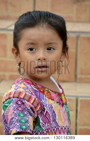 SANTA CRUZ GUATEMALA MAY 03 2016: Portrait of a Mayan child. The Mayan people still make up a majority of the population in Guatemala,