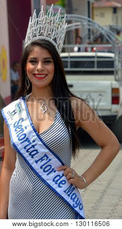 SANTA CRUZ DE ATITLAN GUATEMALA MAY 03 2016: Miss flor de mayo ( flower of may) during Santa Cruz fiesta