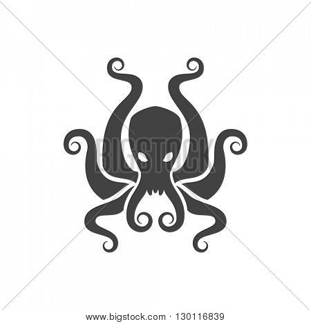 Octopus Isolated on white background vector icon in retro style. Can be used for logo or badge.