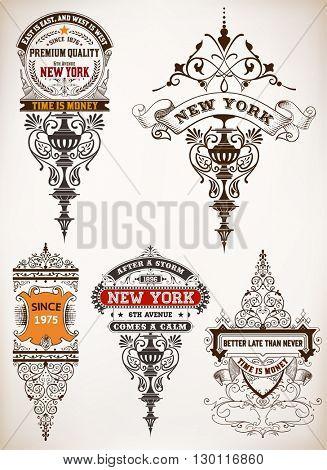 Premium Quality insignia set. Baroque ornaments and floral details.