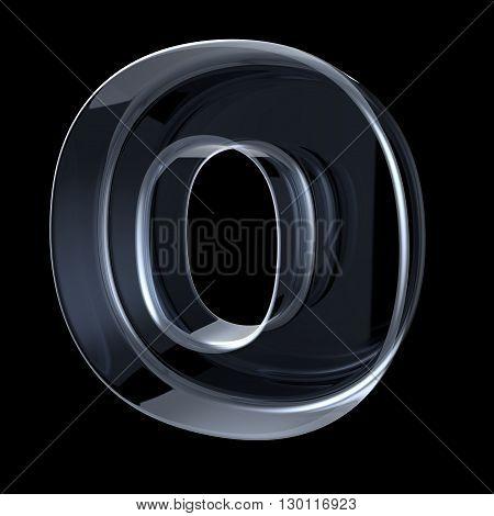 Transparent x-ray letter O. 3D render illustration on black background