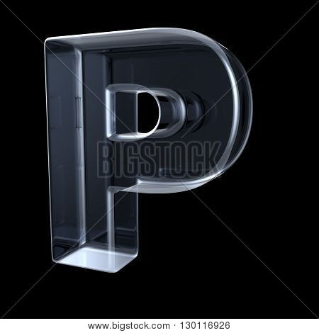 Transparent x-ray letter P. 3D render illustration on black background