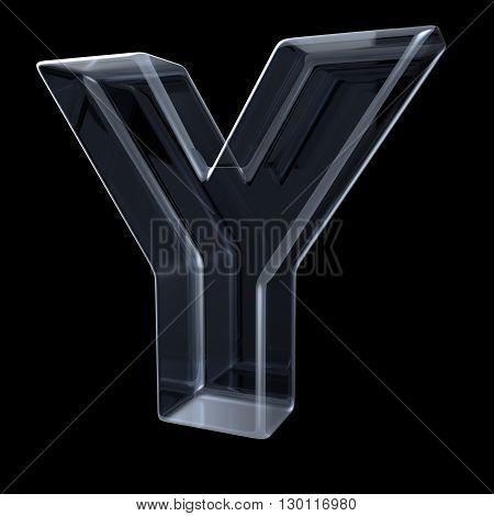 Transparent x-ray letter Y. 3D render illustration on black background