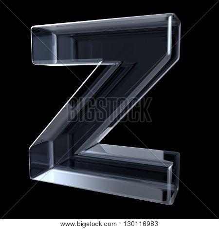 Transparent x-ray letter Z. 3D render illustration on black background