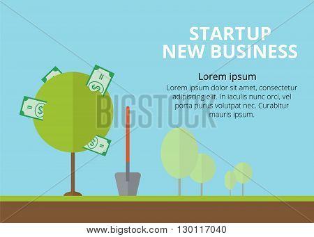 Startup. New business. Startup background. Startup flat illustration. Startup image for web. Startup money tree.
