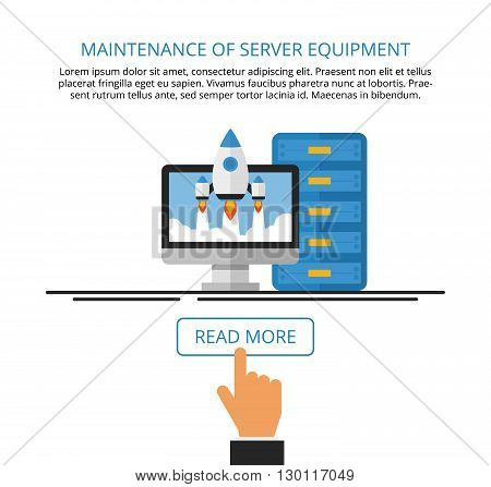 Maintenance of server equipment. Computer services. Landing page. Vector flat illustration.