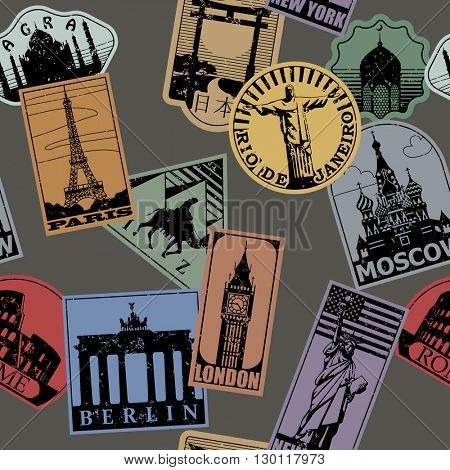 Vintage paper color landmarks travel labels seamless pattern background. Travel stickers of cities: Paris, London, New York, Moscow, Berlin, Rome, Rio de Janeiro. Vector illustration.