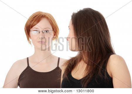 Two young womans, isolated on white background