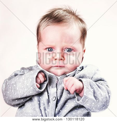 cute blonde female baby portrait