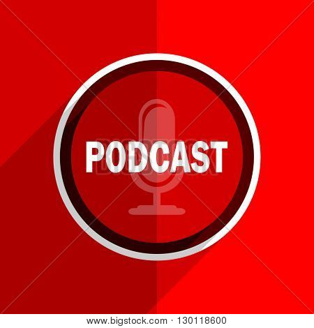 red flat design podcast web modern icon