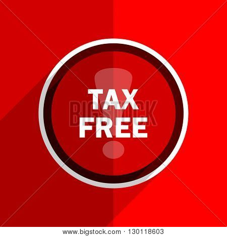 red flat design tax free web modern icon