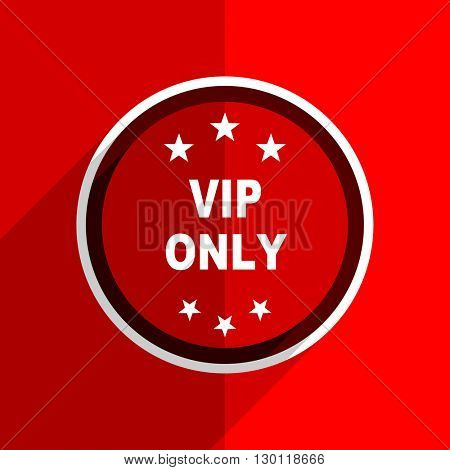 red flat design vip only web modern icon