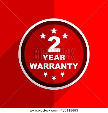 red flat design warranty guarantee 2 year web modern icon