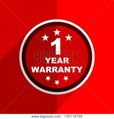 red flat design warranty guarantee 1 year web modern icon