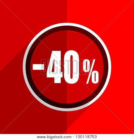 red flat design 40 percent sale retail web modern icon