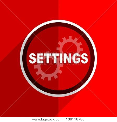 red flat design settings web modern icon