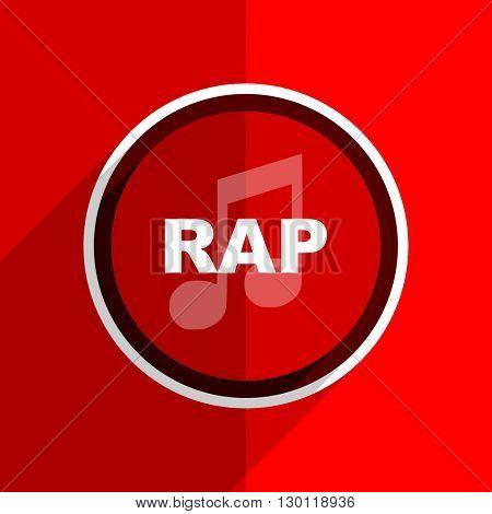 red flat design rap music web modern icon