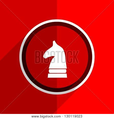 red flat design chess horse web modern icon