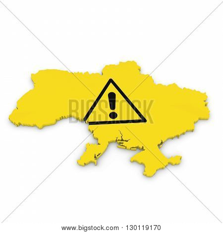 Ukrainian Hazard Concept - 3D Illustration Map Outline Of Ukraine With Hazard Symbol