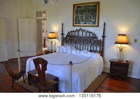 KEY WEST, FL, USA - DEC 20: Bedroom of Ernest Hemingway House and Museum on Dec 20, 2012 in Key West, Florida, USA. Ernest Hemingway House is Ernest Hemingways home from 1931 to 1939.