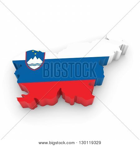 3D Illustration Map Outline Of Slovenia With The Slovenian Flag