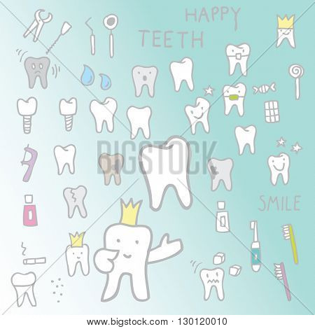 Set of different Teeth - design elements, doodles Freehand drawing