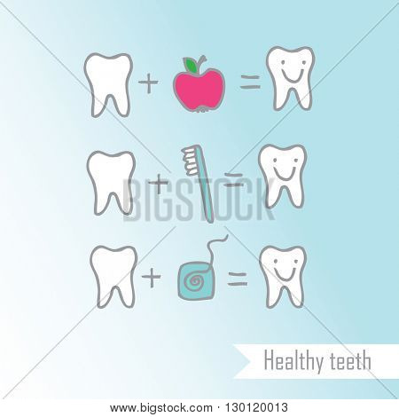Healthy teeth - design element Freehand drawing