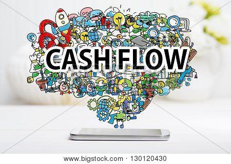 Cash Flow Concept With Smartphone