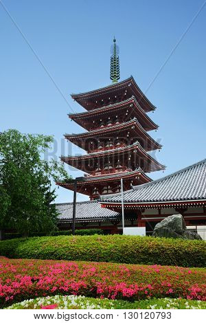 Old pagoda in Asakusa temple the famous tourist place of Japan in Tokyo.