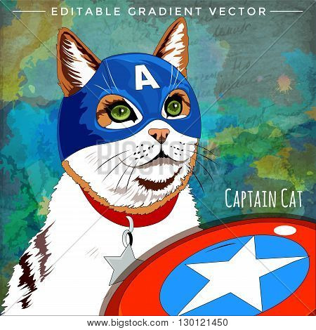 Cap America Cat. Vector illustration of a cat at home.